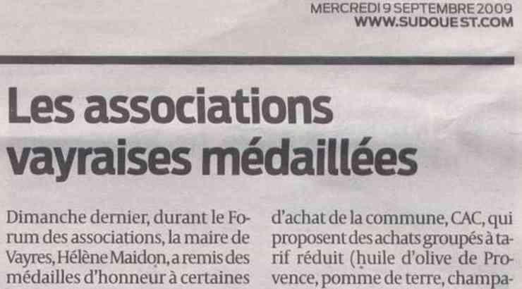 Les associations vayraises médaillées